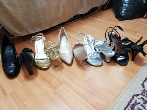 Different kinds of high heels in a straight line