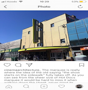 A screenshot of an Instagram Post discussing the Hot Docs Marquee sign.