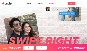 Figure 1. Tinder website promoting users to 'Swipe Right.'