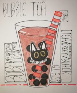 Drawing of a glass of bubble tea with descriptive captions around it.