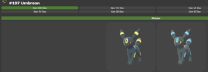 Normal and Shiny forms of the Pokemon Umbreon