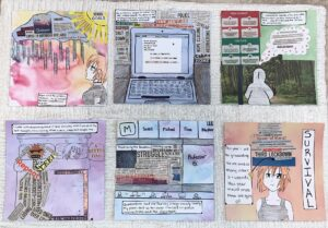 Mixed-media six-pannel comic using local newspaper clippings.