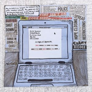 Mixed-media single pannel comic using local newspaper clippings.