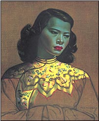 Painting of green woman